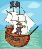 Piraat op de illustratie van het schipbeeldverhaal Stock Afbeelding