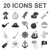Piraat, overzeese rovers zwart-wit pictogrammen in vastgestelde inzameling voor ontwerp Schatten, de voorraadweb van het attribut Royalty-vrije Stock Afbeeldingen