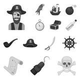 Piraat, overzeese rovers zwart-wit pictogrammen in vastgestelde inzameling voor ontwerp Schatten, de voorraadweb van het attribut Stock Foto