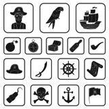 Piraat, overzeese rovers zwarte pictogrammen in vastgestelde inzameling voor ontwerp Schatten, illustratie van het de voorraadweb Stock Fotografie