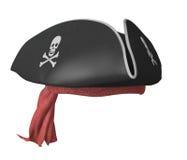 Piraat tricorn hoed met schedels en een rode bandana stock afbeeldingen