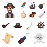 Piraat, van het overzeese de pictogrammen roversbeeldverhaal in vastgestelde inzameling voor ontwerp Schatten, de voorraadweb van Royalty-vrije Stock Afbeeldingen