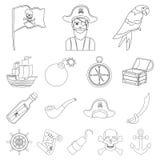 Piraat, van het overzeese de pictogrammen roversoverzicht in vastgestelde inzameling voor ontwerp Schatten, de voorraadweb van he Stock Foto