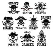 Piraat of van Jolly Roger vector geplaatste pictogrammen vector illustratie