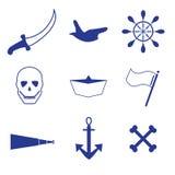 Piraat, varende pictogrammen Royalty-vrije Stock Fotografie