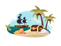 Piraat verlaten eiland stock illustratie