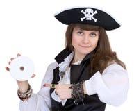 Piraat - vrouw met schijf Stock Afbeeldingen