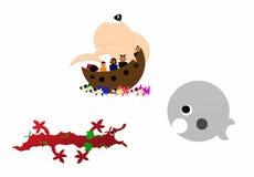 Piraatambacht dichtbij twee monsters royalty-vrije illustratie