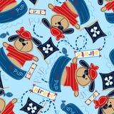 Piraatjong in zijn boot. vector illustratie