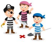 Piraatjonge geitjes die Schat zoeken Stock Fotografie