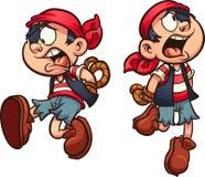 Piraatjongen die die met handen vallen achter rug worden gebonden vector illustratie