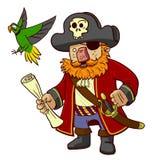 Piraatkapitein en papegaai royalty-vrije stock afbeelding