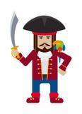Piraatkapitein met de vlakke vector van het papegaaibeeldverhaal Stock Fotografie