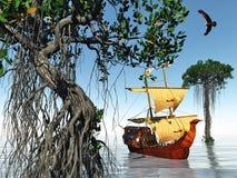 Piraatschip bij magische avond op het oceaan 3d teruggeven Royalty-vrije Stock Foto