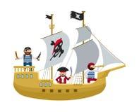 Piraatschip met de vlakke vector van het piratenbeeldverhaal Stock Foto's
