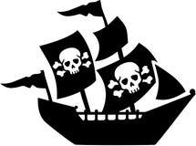 Piraatschip met zeilschedel en beenderen royalty-vrije illustratie