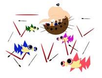 Piraatschip na het winnen van een slag vector illustratie