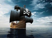 Piraatschip op volle zee Stock Foto's