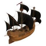Piraatschip over Witte Achtergrond Stock Afbeelding