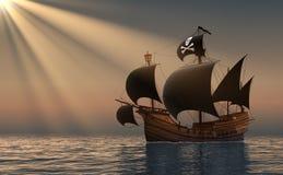Piraatschip in Stralen van de Zon Royalty-vrije Stock Afbeelding