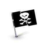 Piraatvlag met gekruist knifes geïsoleerd Stock Foto
