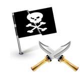 Piraatvlag met gekruist knifes geïsoleerd Royalty-vrije Stock Foto