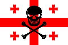 Piraatvlag met Georgische vlag wordt gecombineerd die Royalty-vrije Stock Foto's