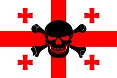 Piraatvlag met Georgische vlag wordt gecombineerd die Royalty-vrije Stock Foto