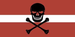 Piraatvlag met Letse vlag wordt gecombineerd die Stock Afbeeldingen
