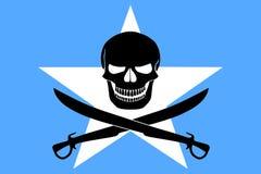 Piraatvlag met Somalische vlag wordt gecombineerd die Stock Fotografie