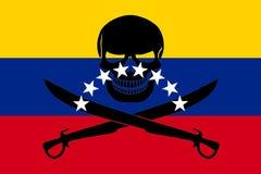 Piraatvlag met Venezolaanse vlag wordt gecombineerd die Stock Foto