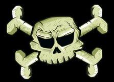 Piraatvlag op zwarte achtergrond Stock Afbeeldingen