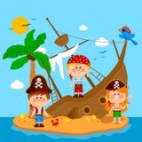 Piraci i shipwreck na wyspie również zwrócić corel ilustracji wektora Zdjęcia Royalty Free