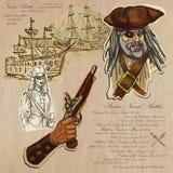 Piraci - Morskie bitwy ilustracja wektor