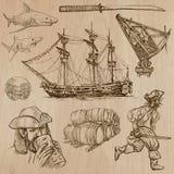 Piraci - ręka rysująca wektor paczka Zdjęcia Stock