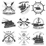 Piracy Black White Labels Stock Image