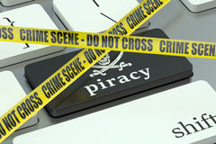 Piracy concept, on the computer keyboard Royalty Free Stock Photography