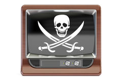 Piracy concept 3D rendering TV set with pirate flag Stock Image