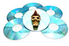 Piracy copy of the disc on white Royalty Free Stock Photo