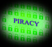Piracy Copyright Indicates Protect Registered And Trademark Stock Photos
