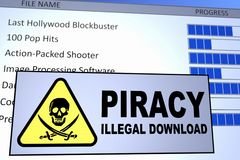 Piracy Download. Computer generated image of an illegal piracy download. Concept for internet piracy Stock Photo