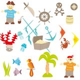 Piracy set. Set of drawings on a theme pirates Stock Photography