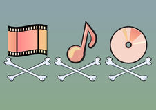 Piracy signs - Illustration. Pirate style signs with movie roll, musical note and disk Royalty Free Stock Photo