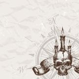 Piracy skull. Compass rose and piracy skull Royalty Free Stock Images