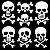 Piracy skull and crossbones vector icons. Death, scary symbols Stock Image