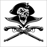 Piracy skull and crossed pistols Royalty Free Stock Photography