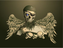 Piracy skull with wings Royalty Free Stock Image