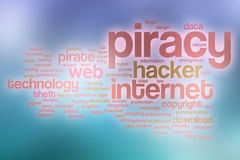 Piracy word cloud with abstract background Stock Image