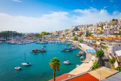 Piraeus, Athens, Greece. Mikrolimano harbour and yacht marina,. Village at harbour and yacht marina of Mikrolimano. Popular tourist destination, Piraeus, Athens stock images