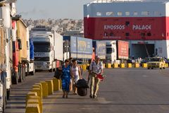 PIRAEUS, GREECE : The port of Piraeus usually covers the schedules to the most popular Greek islands Stock Photos